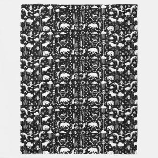 Couverture Polaire Ouatine de motif d'art populaire de raton laveur