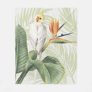 Couverture Polaire Palmettes avec l'oiseau blanc