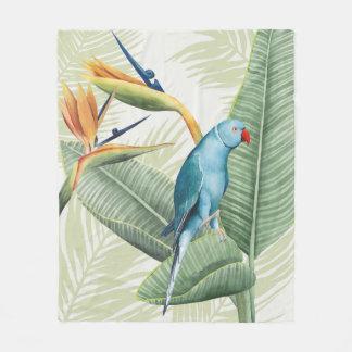 Couverture Polaire Palmettes avec l'oiseau bleu