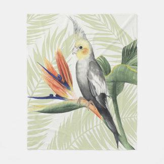 Couverture Polaire Palmettes avec l'oiseau noir