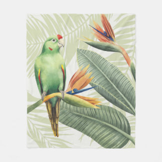 Couverture Polaire Palmettes avec l'oiseau vert