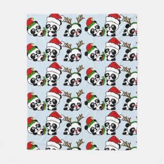 Couverture Polaire Pandas de Noël