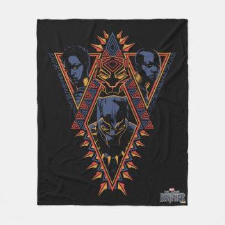 Couverture Polaire Panneau de tribal de guerriers de la panthère