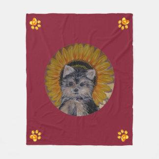 Couverture Polaire Pattes mignonnes de chien, de tournesol et d'or