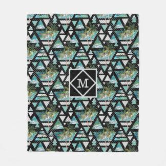 Couverture Polaire Paumes géométriques abstraites et motif de vagues