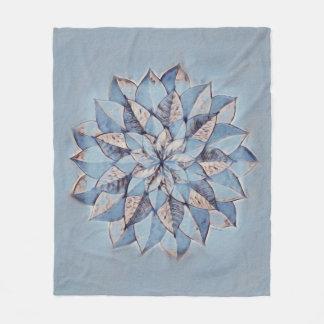 Couverture Polaire Peinture florale d'abrégé sur bleu de Blanke