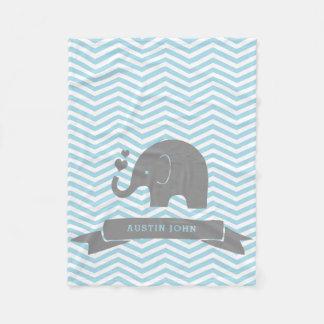 Couverture Polaire Peu de bleus layette d'éléphant de Persaonalized