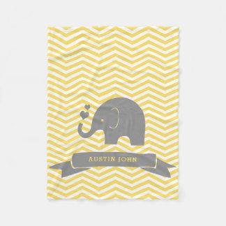 Couverture Polaire Peu de gris de jaune d'éléphant personnalisé par