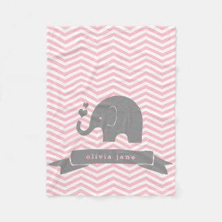 Couverture Polaire Peu de gris de rose d'éléphant personnalisé par