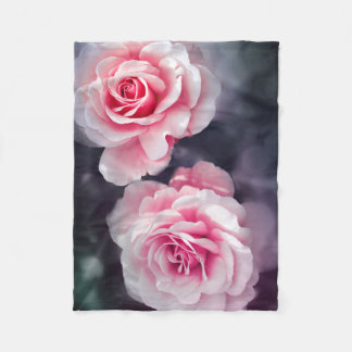 Couverture Polaire Photo florale de roses roses Girly