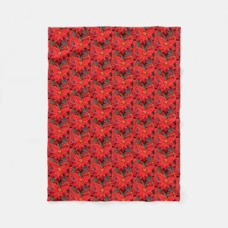 Couverture Polaire Photo florale des poinsettias I de vacances rouges