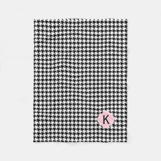 Couverture Polaire Pied-de-poule de rose de noir de monogramme, blanc