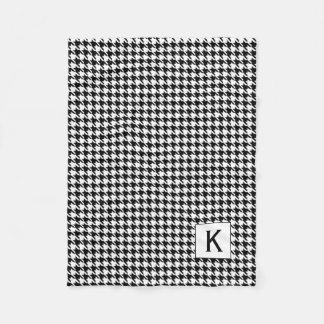 Couverture Polaire Pied-de-poule noir et blanc Pattetrn de monogramme