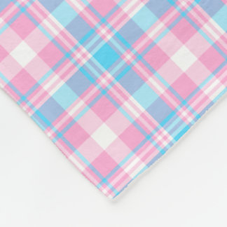 Couverture Polaire Plaid bleu-clair, rose et blanc
