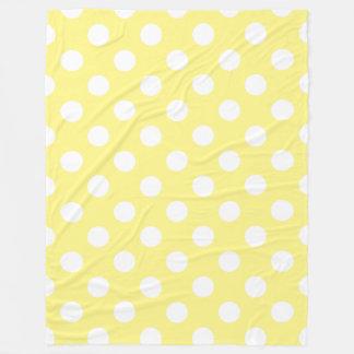 Couverture Polaire Pois blanc sur jaune citron