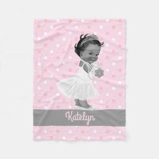 Couverture Polaire Pois ethnique de princesse Nursery Gray Pink