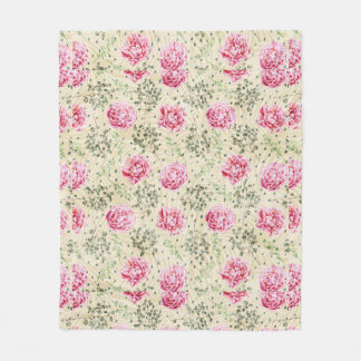 Couverture Polaire Pois floral tropical vert rose vintage de Boho
