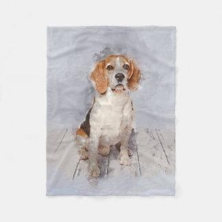 Couverture Polaire Portrait mignon d'aquarelle de beagle