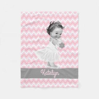 Couverture Polaire Princesse Personalized Pink Chevrons Nursery de