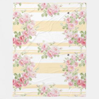 Couverture Polaire Rayure de renoncule de roses d'été de jour de mai