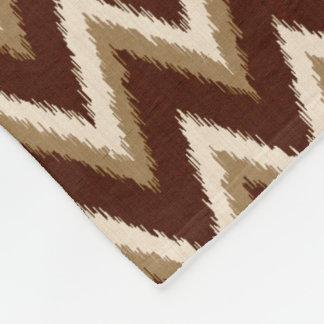 Couverture Polaire Rayures d'Ikat Chevron - brun chocolat et beiges