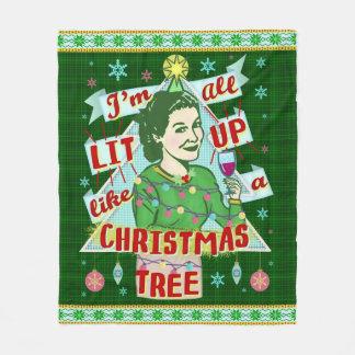 Couverture Polaire Rétro Lit potable de femme d'humour de Noël drôle