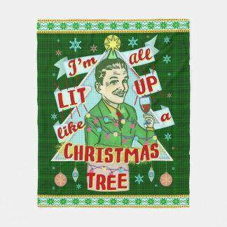 Couverture Polaire Rétro Lit potable d'homme d'humour de Noël drôle