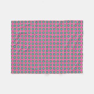 Couverture Polaire Rétro motif de point - bleu jaune rose