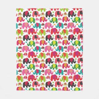 Couverture Polaire rétro papier peint de motif d'enfants d'éléphant