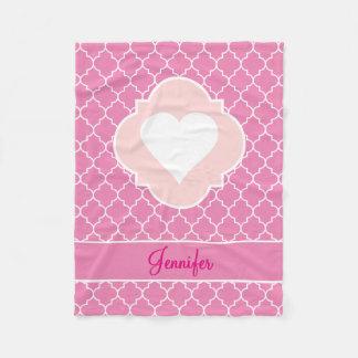Couverture Polaire Rose blanc Quatrefoil de silhouette de coeur avec