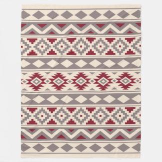 Couverture Polaire Rouge crème de Taupe d'IIIb de motif aztèque
