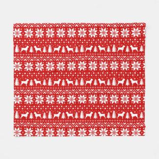 Couverture Polaire Rouge de motif de Noël de griffons de pointage à