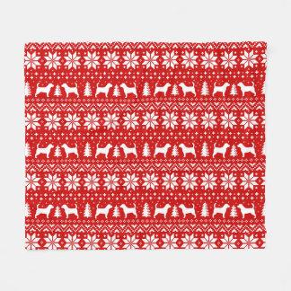 Couverture Polaire Rouge de motif de Noël de silhouettes de beagle