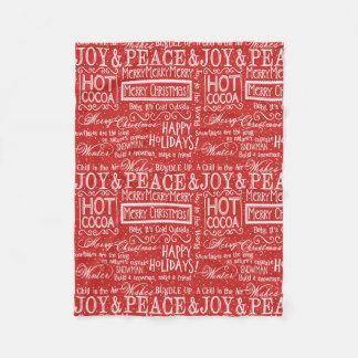 Couverture Polaire Rouge et blanc de vers de Noël