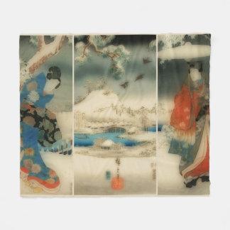Couverture Polaire scène d'hiver - triptyque japonais vintage d'art