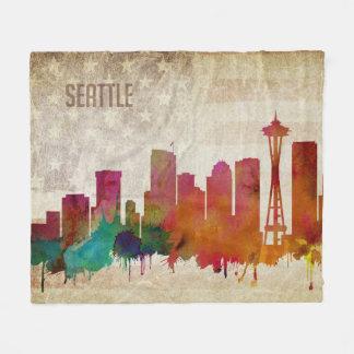 Couverture Polaire Seattle, horizon de ville d'aquarelle de WA |