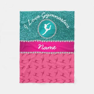 Couverture Polaire Silhouette bleue de scintillement de merle rose
