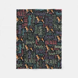 Couverture Polaire Silhouette de beagle et motif d'art de mot
