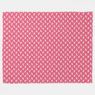 Couverture Polaire Silhouettes blanches de Schnauzer sur le rose rose