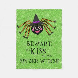 Couverture Polaire Sorcière drôle d'araignée de Halloween