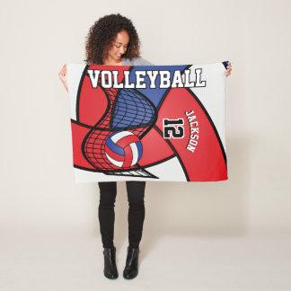 Couverture Polaire Sport de volleyball en rouge, le blanc et le bleu