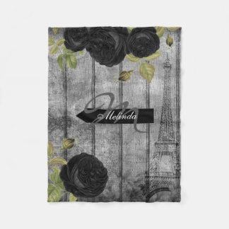 Couverture Polaire Style élégant de Paris de rose de noir -