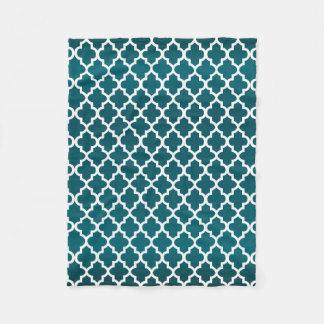 Couverture Polaire Teal foncé et motif blanc de Quatrefoil