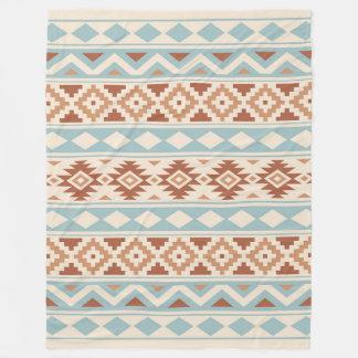 Couverture Polaire Terres cuites bleues crèmes aztèques de Ptn IIIb