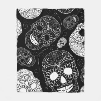 Couverture Polaire Têtes de crâne de sucre noir et blanc