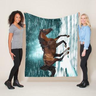 Couverture Polaire Thème d'hiver galopant le cheval Arabe