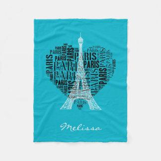 Couverture Polaire Tour Eiffel et inscriptions Paris au coeur