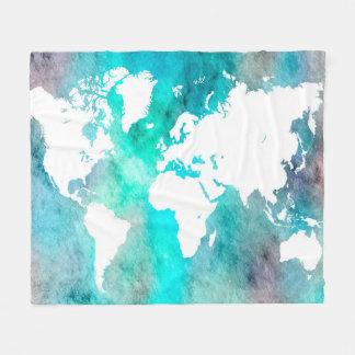 Couverture Polaire Turquoise d'aqua de carte du monde de la