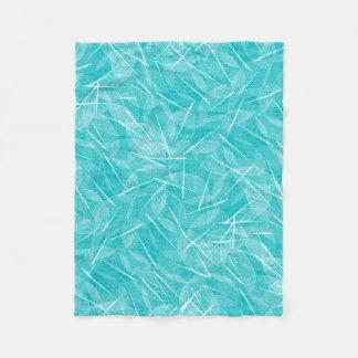 Couverture Polaire Turquoise et motif blanc de feuille de veine