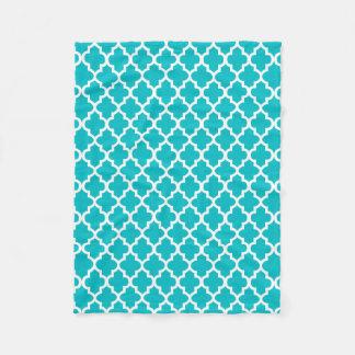 Couverture Polaire Turquoise et motif blanc de Quatrefoil